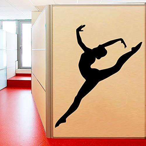 fancjj Muchacha de la Gimnasia desprendible Arte de la Pared Deportes Deportes Adhesivo de la Pared Bailarina Pegatinas de Pared Bailarina de Yoga Dormitorio Arte Vinilo Mural 47X57CM