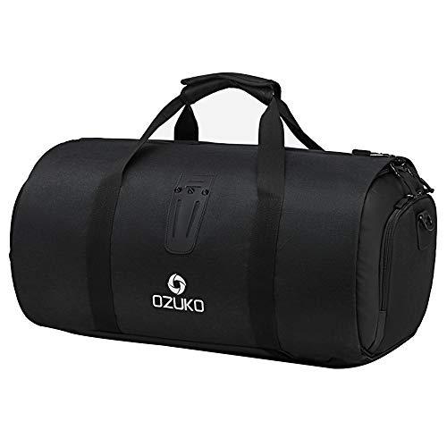 Bolsa de viaje de viaje, impermeable, mochila ligera, deportiva, con compartimento para zapatos para senderismo, camping, Black (Negro) - 1