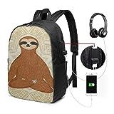 XCNGG Mochila para portátil Mochila para Colegio Universitario de 17 Pulgadas con Puerto de Carga USB Mochila Informal para Viajes (Sloth)