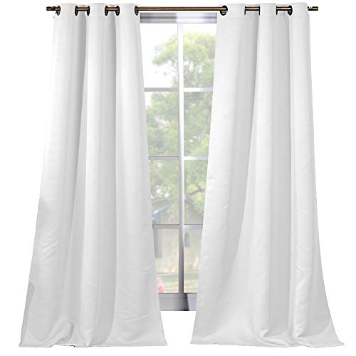 Elegant Linens Thermal Insulated Solid Grommet Ring Top 84 inches Drop Draperies Blackout Window Curtains for Bedroom & Living Room - Set of 2 Panels (White)
