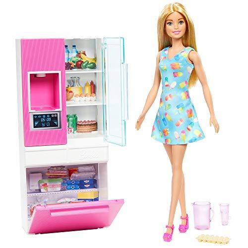 Barbie Refrigerador, accesorios para cocina con muñeca rubia (Mattel GHL84)