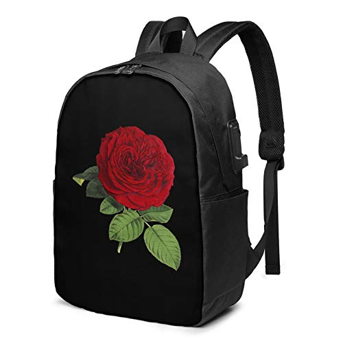 Happy Mother's Day Rose Laptop Backpack with USB Charging Port, Business Bag, Bookbag | Fits Most 17 Inch Laptops and Tablets
