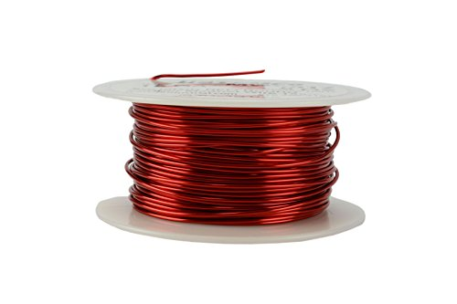 TEMCo 18 AWG Copper Magnet Wire - 8 oz 100 ft 155°C Magnetic Coil Red