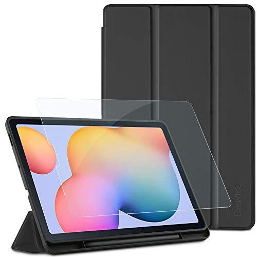 EasyAcc Custodia Compatibile con Samsung Galaxy Tab S6 Lite 10.4 con Vetro Temperato-Ultra Sottile con Cover Leggero Supporto in Pelle PU Case Compatibile con Tablet Samsung Tab S6 Lite 2020, Nero