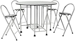Juego de mesa plegable de comedor y 4 sillas, 5 elementos,