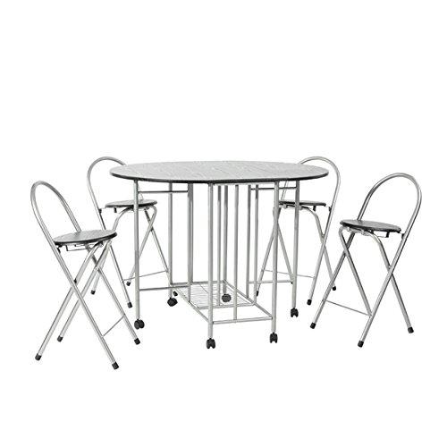 Juego de mesa plegable de comedor y 4 sillas, 5 elementos, mesa de comedor mariposa para cocina plegable con sillas, ahorra espacio, con ruedas, en color negro