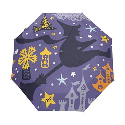 Jeansame Halloween Herfst Vallen Heks Vouwen Compacte Paraplu Automatische Regen Paraplu's voor Vrouwen Mannen Kid Jongen Meisje