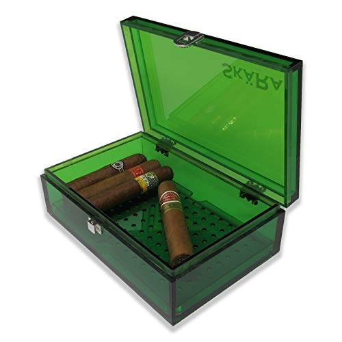 Skara Acrylic Humidor for Up to 20 Cigars with Secure Lid for Desk Or Travel Free Humidity Pack Included (Green)