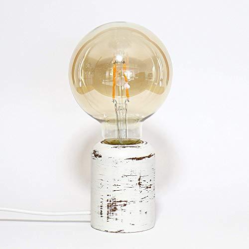 Vintage LED Lampe, Boho Tischlampe, moderne Edison Leuchte, Nachttischlampe, Holz gedrechselt