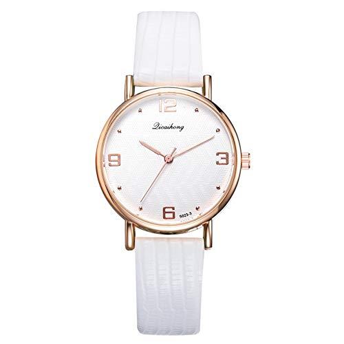 ZX Elegante Mujer Reloj De Moda Correa De Cuero Analógico Reloj De Cuarzo Analógico Hebilla Regalo Casual Blanco