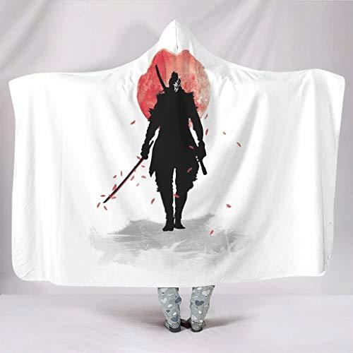 Wandlovers Camiseta con capucha abstracta, diseño de espada de guerrero, color rojo, sol, impresión súper suave, con capucha, color blanco, 150 x 200 cm