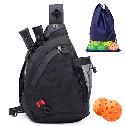 ZOEA Pickleball Bag, Sport Pickleball Sling Bag for Women Man, Adjustable Pickleball Bag with Water Bottle Holder, Fits 2 Paddles and All Your Other Gear (Black)
