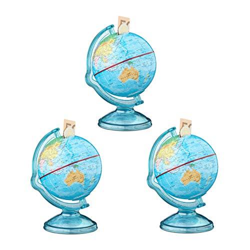 Relaxdays 3X Spardose Globus im Set, Sparbüchse als politische Weltkarte, mit englischer Beschriftung, Weltkugel, bunt