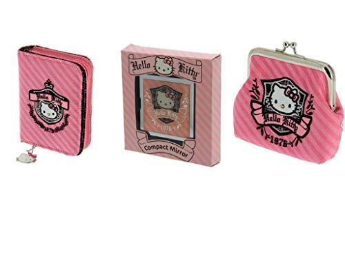 Hello Kitty Prep Zip Portemonnee + Muntentas + Compacte Spiegel - Gift Trio Set