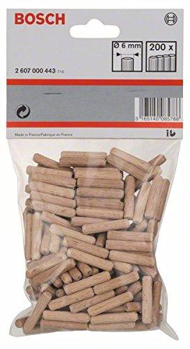 Bosch Professional geriffelte Holzdübel (200 Stück, Ø 6 mm)