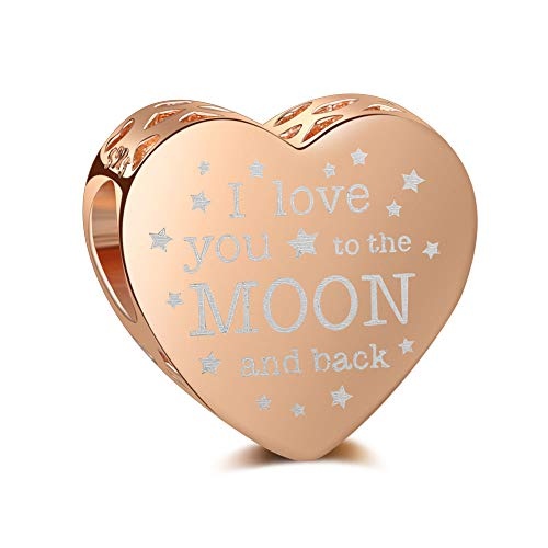 LaMenars Heart Charms'I Love You To The Moon & Back' Real 925 Sterling Rose Gold Silver Bead Charm Fits European Bracelets & Necklaces ('I Love You To The Moon & Back' Rose Gold)