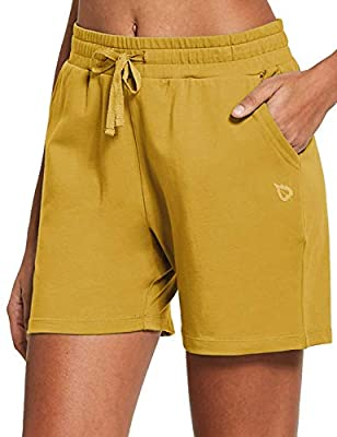 "BALEAF Women's 5"" Casual Jersey Cotton Shorts Lounge Yoga Pajama Walking Shorts with Pockets Activewear Misted Yellow Size XL"