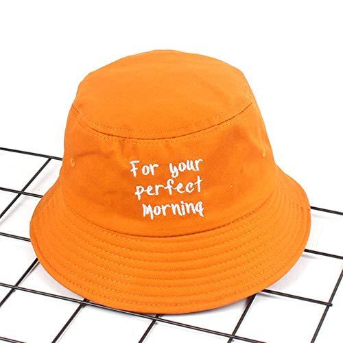 TUOF Sombrero de Pescador Mujer Sombrero de Lavabo Bordado Femenino Cartas de Verano Sombrilla Sombrero de Pareja Protector Solar Hombres Cubo Sombrero de Sol, Amarillo, 56-58 Cm