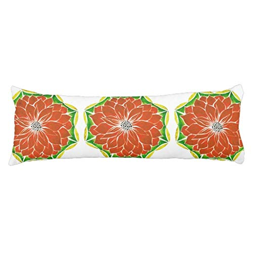 unknow ORANGE POINSETTIA Design Body Pillow Cases or Pillows Rectangle Body Pillow Case Cushion Protector for Home Couch Sofa Bedding Decorative