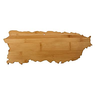 Totally Bamboo Puerto Rico Shaped Bamboo Serving and Cutting Board