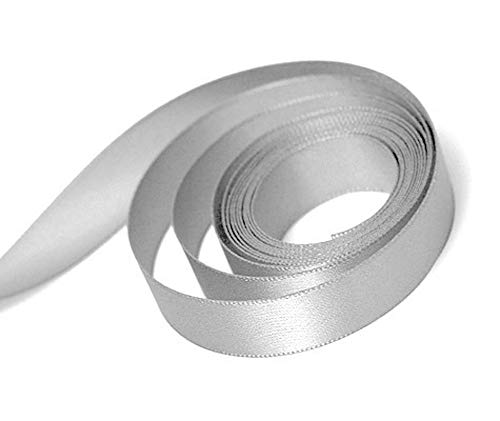 """(25 Yards) Satin Ribbon roll Craft Xmas Presents Wedding Party Holiday Gift wrap Hair Bows Sewing (2"""", Silver)"""