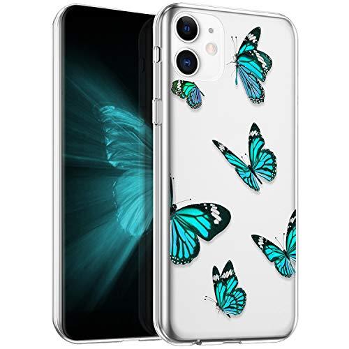 Surakey Funda Para iPhone 11,Carcasa Suave TPU Silicona Claro Mariposas Case Transparente Gel Bumper Ultra Fina Antigolpes Protección Caso Para iPhone 11,Mariposa G