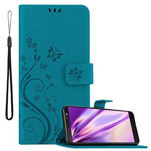 Cadorabo Hülle für Motorola Moto G6 Plus in FLORAL BLAU – Handyhülle im Blumen Design mit Magnetverschluss, Standfunktion & 3 Kartenfächern – Hülle Cover Schutzhülle Etui Tasche Book Klapp Style