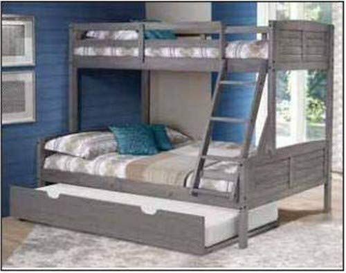 Donco Kids Louver Bunk Bed withTrundle, Twin/Full/Twin, Antique Grey