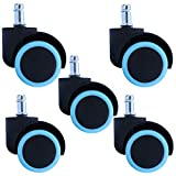 Casters 5 × 50 Mm Circlip Gravity Universal Wheel - Accesorios para Sillas De Oficina, Polea Giratoria De Doble Rueda/Boss Chair Mute Wheel Pink, Blue