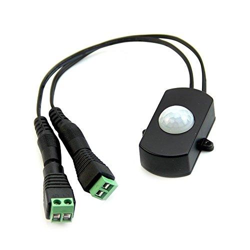 YDong 5A PIR Interruptor de Detector de Sensor de Movimiento Infrarrojo para Tira de Luz LED + Conector de AlimentacióN de CC Macho Hembra 5V-24V