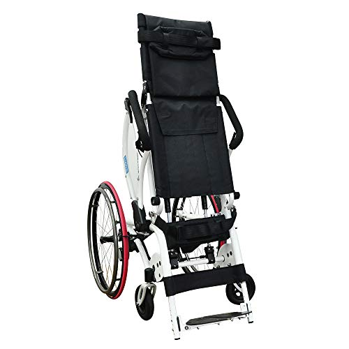 Leo II Lightest Manual Standing Wheelchair 59 lb High Grade Aluminium Alloy Mobility Hand-Powered with Polyurethane Suspension (18' Seat)