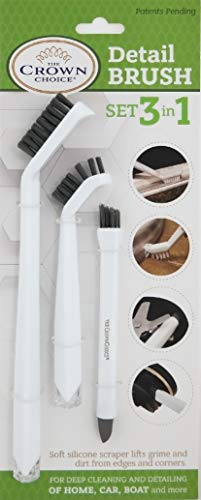 3-in-1 Grout Cleaner Brush to Deep Clean Tile Lines | Small Scrub Brushs Detail Kitchen, Bathroom, Shower Cleaning | 3Pc Home Cleaner Brushes Set