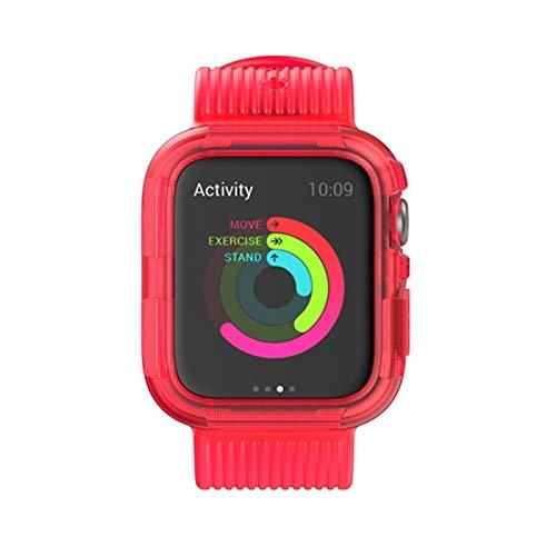 FAAGFC Correa de silicona para Apple Watch Band 44 mm, 40 mm, 42 mm, 38 mm, suave parachoques + pulsera para accesorios IWatch 5 4 3 2 1 (color de la correa: rojo, ancho de la correa: 38 mm)