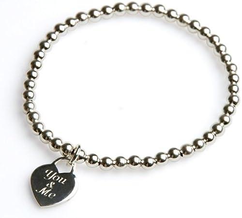 Armband  You & me , 925er Silber, 18 cm - ein sü  LiebesbeWeißzu Weißachten, zum Valentinstag, Hochzeitstag oder einfach so