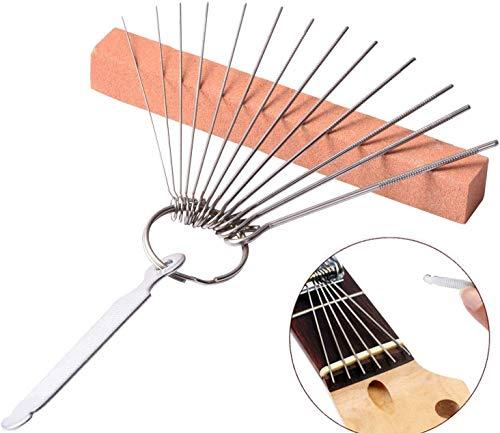 Juego de 13 limas de acero inoxidable y 1 lima plana y piedra de afilar, para sillines de guitarra, bajos acústicos, eléctricos, ukelele