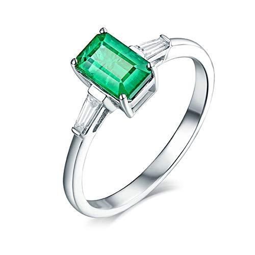 Beydodo Anillos Mujer Boda,Anillos de Mujer Oro Blanco 18K Plata Verde Rectángulo Esmeralda Verde 1.3ct Diamante 0.21ct Talla 25(Circuferencia 65MM)
