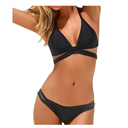 LOPILY Bikini Set Damen Balconette Bikinis Neckholder Bandeau Bademode Exklusive 2020 Badeanzug Zweiteiler mit Bänder Einfarbig Swimwear Farbblock Strandmode Figurformend (Schwarz, S)
