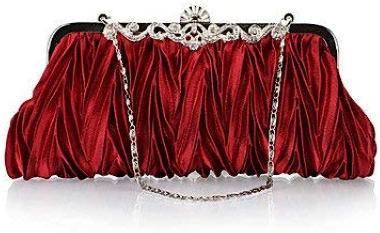 Ladies Handbag Women'sPearl Diamonds Party Evening Bag (color   Wine)