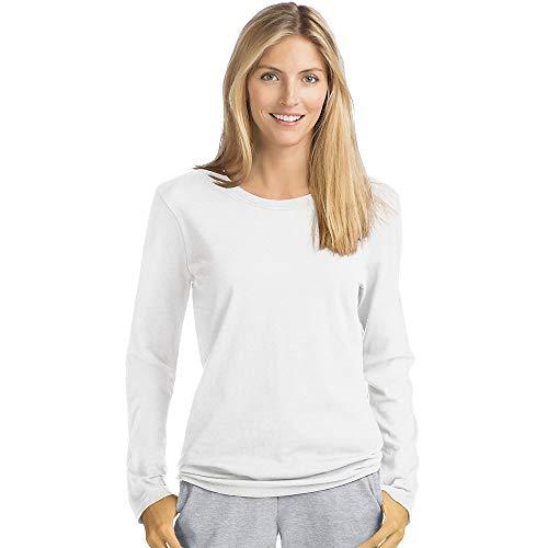 Hanes Women's Long Sleeve Tee, White, Small