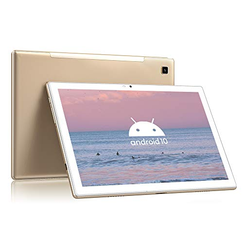 Blackview Tab 8 Android Tablet 10.1 Inch, 4GB RAM, 64GB ROM, Android 10, Octa-Core Processor, 1920x1200 FHD, 6580mAh Battery, 13MP Rear Camera, 4G LTE Dual SIM, Wi-Fi, Bluetooth, Face ID, GPS - Gold