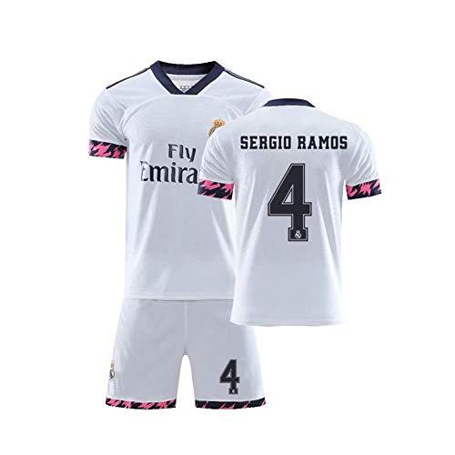 PAOFU-Camiseta de Fútbol de Fútbol Local del Real Madrid 2020 para Hombre # 4 Fanáticos de Sergio Ramos Conjunto de Camiseta y Pantalón Corto