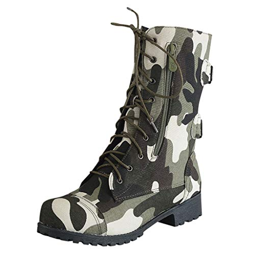 Buy Amlaiworld Women Winter Boots Flats Lining Ankle Lace Up Camouflage Military Combat Combat Boot