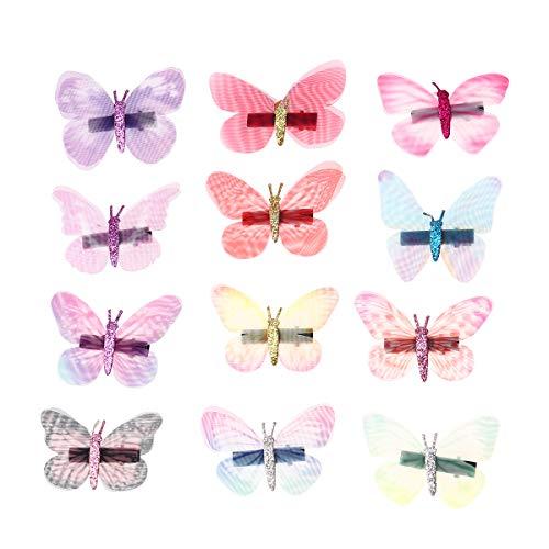 Lurrose Haarspelden, 12 stuks, vlinder, 3D-haarspelden, leuke haarspelden voor kinderen