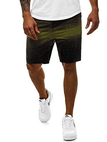 OZONEE Herren Sporthose Kurz Shorts Sweatpants Trainingshose Kurze Hose Bermuda Sportshorts Jogginghose Freizeithose Laufshorts Sweatshorts Herrenhose Sport 777/853S GRÜN 2XL