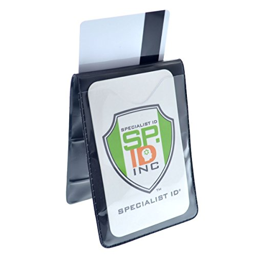 Heavy Duty Magnetic Badge Holder - Fold Over Shirt Pocket or Belt- Two Sided for Multiple ID Cards - Perfect for 2 Vertical I.D. Badges by Specialist ID (Single)