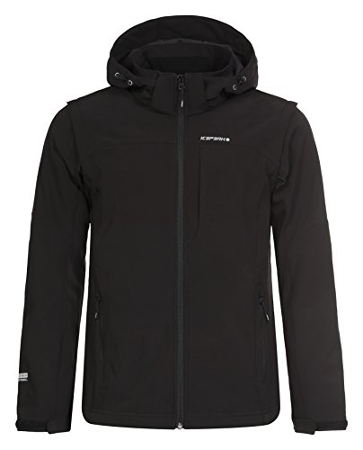 ICEPEAK Herren Softshell Jacket Leonidas Jacke, Schwarz (990), 3XL