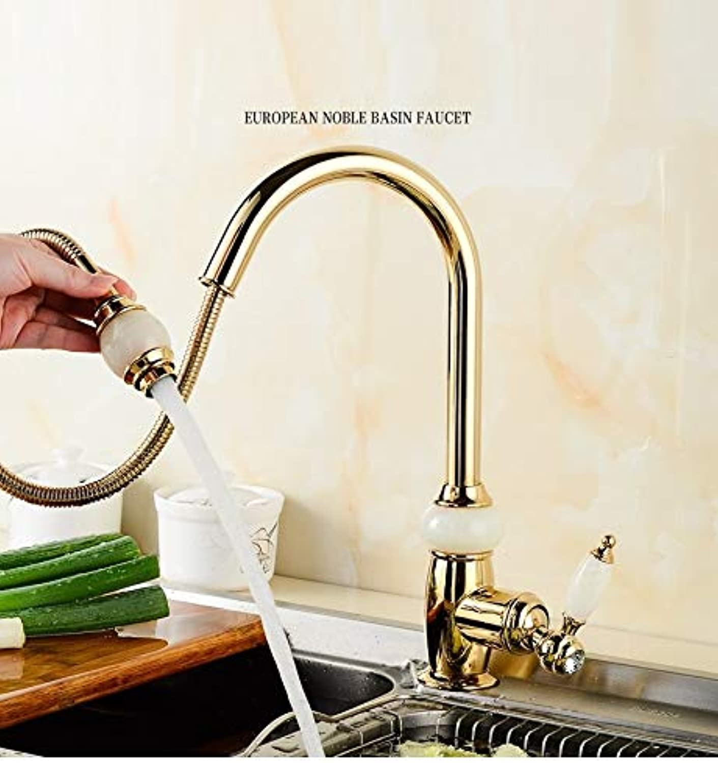 CZOOR Kitchen Luxury Basin Pull Out Faucet gold Brass with Jade for Cold and hot Mixer tap Sink Faucet Vegetable Washing a Faucet,gold