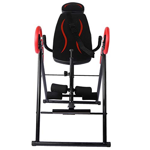 Best Buy! Qiilu Inversion Table, Heavy Duty Foldable Fitness Gravity Inversion Table Back Pain Relie...