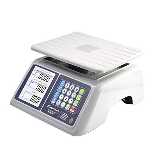 WCX Professionele elektronische weegschaal met digitaal display, max. 30 kg, voor keuken/post/pakket/groentemarkt 29X34x15.8 cm wit