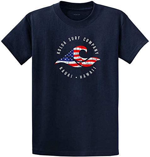 Koloa Surf(tm) - Vintage USA Flag Wave Logo T-Shirt-Navy/c-XL